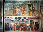 The tribute money, by Tommaso Masaccio (1401-1428). The Raising of the son of Theophilus and St Peter enthroned, by Tommaso Masaccio and Filippo Lippi...