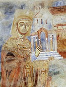 Abbot Desiderius in the act of offering the basilica, 1072-1078, detail of Byzantine-Campanian school frescoes, apse half-dome of the Basilica of Sant...