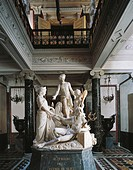 Carving of the Suez Isthmus, 1863, by Pietro Magni 1817_1877, group sculpture in marble, vestibule of the first floor, Revoltella Museum, Trieste, Fri...