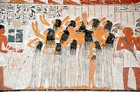 Women mourning the passing of the head of the household, the widow at the front is supported by an attendant. From the tomb of Ramose in the ancient e...