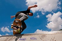 12_year_old, Skater, boy, skateboard, boardslide, skateboard ground, Blaubeuren, Swabian Alb, Baden_Wurttemberg, Germany, Europe
