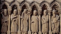 Frieze with Old Testament characters, detail from the facade of the Cathedral of Santa Maria, Ciudad Rodrigo, Castile and Leon. Spain, 12th-13th centu...