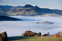 Sea of fog, mountain Guggis, BE, autumn, canton, Bern, Bernese Oberland, fog, fog, Switzerland, Europe, scenery, landscape,