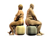 Obesity. Artwork of an overweight woman and man sitting down, seen from the side.