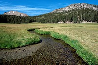 Stream winding through meadow with mountains