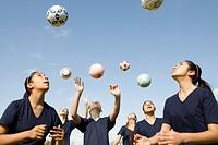Girls in soccer practice