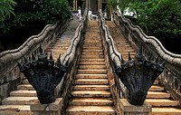 Architectural detail of a staircase of the ancient city of Muang Boran, Bangkok, Thailand.
