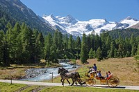 Horse coach, Val Roseg, nature, canton, GR, Graubünden, Grisons, horse, coach, car, carriage, horse car, Switzerland, Europe, family, glacier, brook