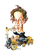 Christian Doppler 1803_1853. Caricature of the Austrian physicist Christian Doppler riding a train and playing a trumpet. Doppler is famous for the Do...