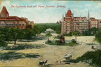 Postcard of Esplanade road and Flora Fountain ; Bombay Mumbai ; Maharashtra ; India