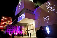Sydney, new wing of the Museum of Contempory Art Australia with projections by the Sydney Group Spinifex during the Vivid Live 2012 Festival