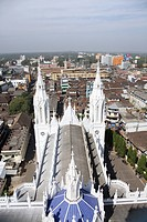 View from the top floor of 260 feet high Bible tower of Shrine Basilica of Our Lady of Dolours with back ground of Thrissur , Kerala , India