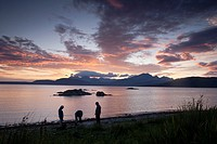 Camp Fire with view to Cuillin Hills, Isle of Skye, Scotland, UK