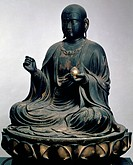 Jizo Bosatsu, statue from the Unkei School, Japan. Japanese Civilisation, Kamakura period, 12th century.  Aarhus, Kunstmuseum (Fine Arts Museum)