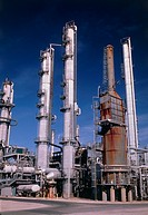 Part of an oil refinery producing petrol, natural gas and other oil derivatives. The refining of oil is a very complex process involving desalting, fr...