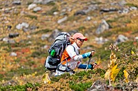Woman trekking in mountains
