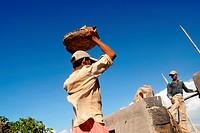 Workers repair and restore Worli Fort in Bombay Mumbai; Maharashtra; India
