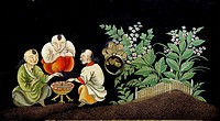 Cabinet in lacquer with decoration depicting birds and flowers, China. Detail. Chinese Civilisation, 18th century.  Private Collection