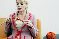 Businesswoman Knitting