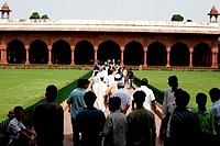 Diwan_I_Am or the Hall of public Audience used by the Emperor , UNESCO World Heritage site the famous Delhi fort also known as Lal Qila or Red Fort co...