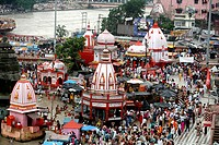 Temples near the Har Ki Pauri literally means Footsteps of the Lord is considered the most sacred Ghat of Haridwar on the banks of river Ganga , Uttar...