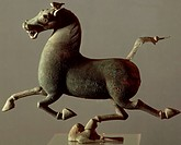 Horse balanced on a hoof on the base, bronze statue found during the Gansu Wuwei excavations, 1969 , China. Chinese Civilisation, Eastern Han Dynasty,...