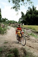 Woman riding cycle , Bongaigaon , Assam , India