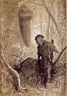Blondel hears the voice of Richard the Lionheart, engraving by Gustave Dore' (1832-1883) for Gargantua and Pantagruel by Francois Rabelais (1483-1494 ...