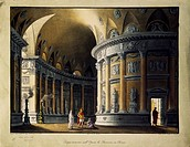 Temple home for Berenice in Rome by Pietro Raimondi (1786-1853), performed at the Royal Theatre of St. Charles in Naples, set design by Pasquale Canna...