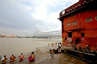 Jagannath ghat , Howrah bridge , Calcutta , West Bengal , India