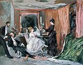 Hortense Schneider (1833-1920), French soprano, in her dressing room, 1873.  Paris, Bibliothèque Des Arts Decoratifs (Library)
