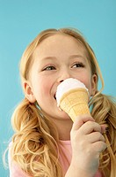 Little Girl Eating Ice Cream on a Cone