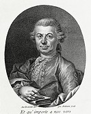 Portrait of Carlo Gozzi (Venice, 1720 - Venice, 1806), Italian writer and playwright. Engraving, 1777.  Milan, Biblioteca Nazionale Braidense (Library...