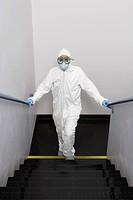 Scientist in Stairwell