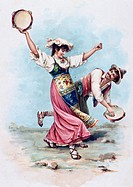 Neapolitan tarantella, watercolour. Italy, 19th century.  Private Collection