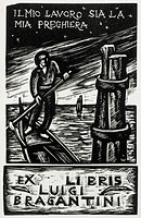 Bookplate depicting a row boat, 20th Century.  Private Collection