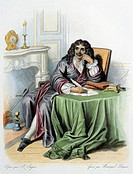 Portrait of Jean-Baptiste Poquelin, known as Moliere (Paris, 1622 - Paris, 1673), French playwright and actor. Colour engraving, 19th century.  Privat...