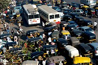 Traffic at the congested saki naka junction on the andheri ghatkopar road ; Bombay now Mumbai ; Maharashtra ; India