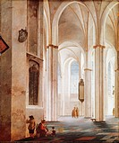 Interior of the Buurkerk catherdral in Utrecht, 1644, by Pieter Jansz Saenredam (1597-1665), oil on oak panel, 60x50 cm.  London, National Gallery
