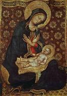 Madonna of Humility, 1420-1423, by Gentile da Fabriano (1370-ca 1427), tempera on panel, 56x41 cm.  Pisa, Museo Nazionale Di San Matteo (Art Museum)