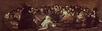 Witches' sabbath or The Great He-Goat, 1821-1823, by Francisco de Goya (1746-1828), mural transferred to canvas from the Villa del Sordo, 140x438 cm. ...