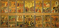 Episodes from Christ's Passion and Resurrection, the reverse surface of the Maesta' of Duccio Altarpiece in the Cathedral of Siena, 1308-1311, by Ducc...
