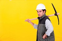 Confident worker with pick_axe