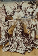 Madonna and Angels, by Hans Holbein the Elder (ca 1465-1524), pen, black and brown ink, grey and coloured watercolour drawing.  Basel, Kunstmuseum (Ar...