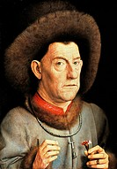 Portrait of a Man with Carnation, by Jan van Eyck (1390-1441).  Berlin, Gemäldegalerie (Picture Gallery)