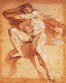 Study of a male figure, drawing by Gian Lorenzo Bernini (1598-1680).  Florence, Galleria Degli Uffizi (Uffizi Gallery)