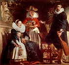 The painter's family, 1621-1622, by Jacob Jordaens (1593-1678), oil on canvas, 181x187 cm.  Madrid, Museo Del Prado