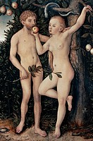 Adam and Eve, 1538, by Lucas Cranach the Elder (1472-1553), oil on panel.  Prague, Národní Galeri V Praze (National Fine Arts Museum)