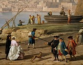 Scene in the port of Naples, by Claude-Joseph Vernet (1714-1789). Detail.  Paris, Musée Du Louvre