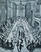 Dinner given in Paris by the Duke of Alba, Spanish Ambassador, to mark the birth of the Prince of Asturias, 17th century, engraving.